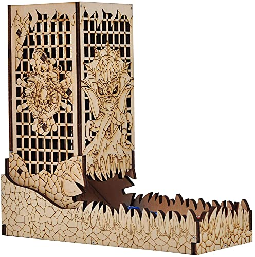 DND Dice Tower with Tray Wood Laser Etched Cthulhu Portable and Collapsible Dice Roller Perfect for Board Game and Tabletop RPG