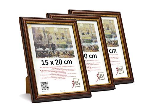 3B Conjunto de 3 Piezas Bari Rustic Marco - 15x20 cm - Oscuro marrón - Madera sólida Marcos, Marcos de Fotos
