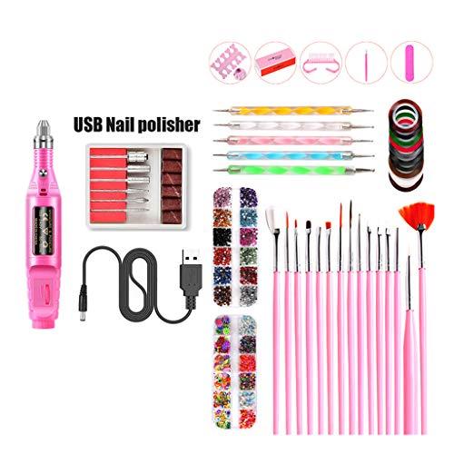 ZHENXI Nail Drill for Nair Art, Nail Art Tool Electric Grinder Polisher Nail Brush Dotting Painting Pen Set