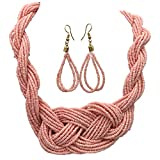 Gypsy Jewels Multi Row Layered Seed Bead Statement Necklace and Dangle Earring Set (Light Pink Knot)
