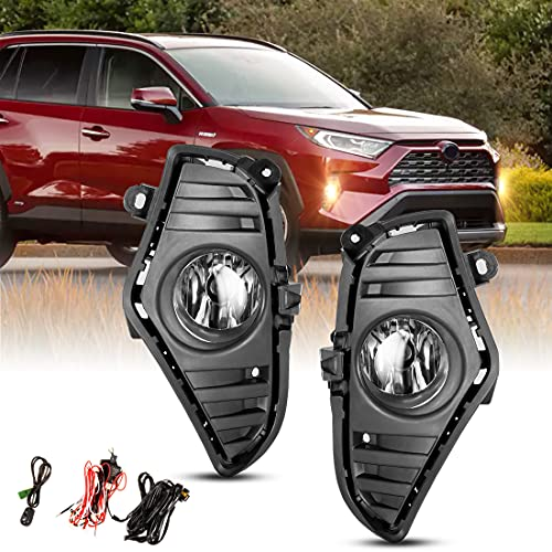 Fog Light Set for 2019-2021 Toyota RAV4 w / Bulbs H11 12V 55W, Driving Fog Light Lamp Replacement, NIXON OFFROAD Clear Lens Wiring Harness Kit( Not for Adventure / Trail / Trd Off-Road models )