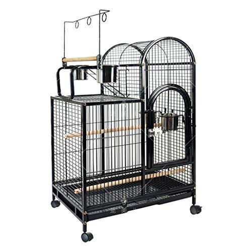 Käfige Vogelkäfig Papageienkäfig Großer Haus Wellensittich-Käfig Parakeet Cockatiel Klein Parrot Travel Cage Metall Vogelkäfig mit Rad