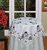 Creative Linens Holiday Embroidered Snowman and Christmas Tree Table Cloth 33x33 Square Topper White