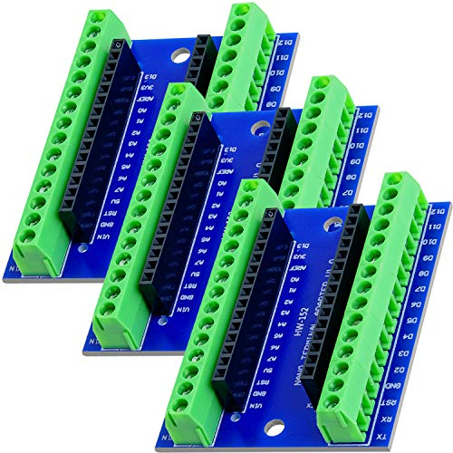 AZDelivery 3 x Nano Terminal Adapter Board mit Schraubklemmen, Modul Board kompatibel mit Arduino inklusive E-Book!