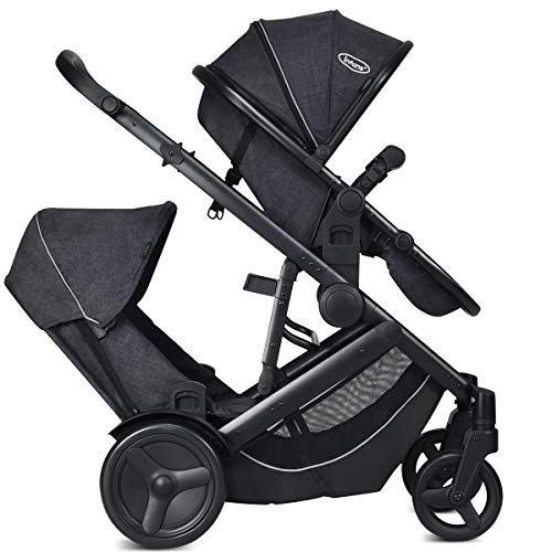 INFANS Tandem Stroller, Single-to-Double Folding Pushchair with Reversible & Removable Seat, Convertible to Carrycot, Suspension Shock Absorbing, 2 Raincovers, Adjustable Push Handle