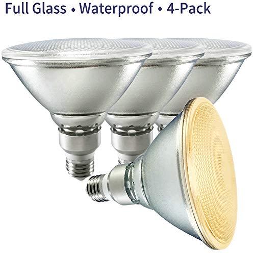 PAR38 LED Flood Light,Dimmable,2700K Soft Warm White,Full Glass,Indoor/Outdoor Lighting,Energy Saving 18W=70W-120W PAR38 Halogen Bulbs,110V-120V,Waterproof,Track Light,Recessed Light,Pack of 4
