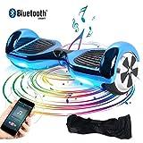 TOEU - Patinete Eléctrico Hoverboard, Ruedas de 6.5', Leds, Potente batería de Litio, Bluetooth, Self Balancing, monopatín eléctrico Auto-Equilibrio (ChromeBlue-Bluetooth)