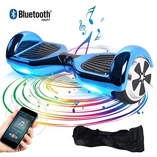 "TOEU - Patinete Eléctrico Hoverboard, Ruedas de 6.5"", Leds, Potente batería de Litio, Bluetooth, Self Balancing, monopatín eléctrico Auto-Equilibrio (ChromeBlue-Bluetooth)"