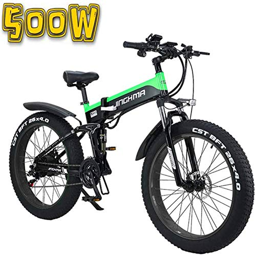 min min Bike,Folding Electric Bicycle, 26-Inch 4.0 Fat Tire Snowmobile, 48V500W Soft Tail Bicycle, 13AH Lithium Battery for Long Life of 100Km, LCD Display/LED Headlights