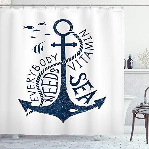 ABAKUHAUS Anker Duschvorhang, Motivation Nachricht, Set inkl.12 Haken aus Stoff Wasserdicht Bakterie & Schimmel Abweichent, 175 x 200 cm, Dunkelblau & weiß