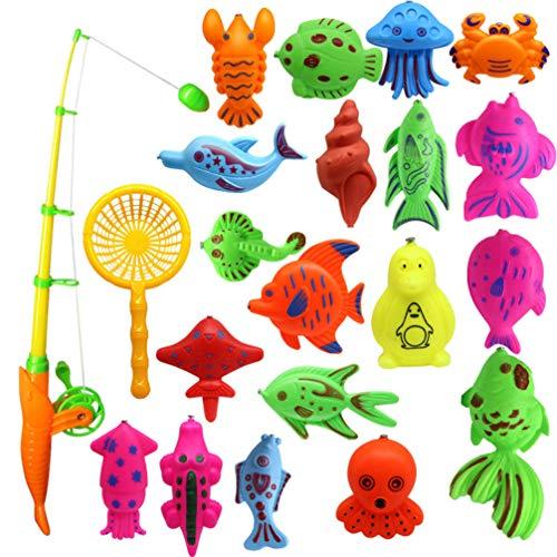 TOYANDONA Canne e Pesca di Giocattolo Magnetica Colorata in Plastica Giochi da Bagnetto Educativo Regalo per Bambini 22PCS