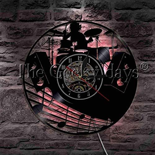 SSCLOCK Instrumento Musical Kit de batería Reloj de Pared con Disco de Vinilo con retroiluminación LED Banda de Baterista Música...