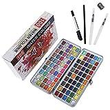 100 Color Pinturas Juego de acuarela sólidas+4 pinceles de pintura, color convencional, color metálico fluorescente macarón, portátil comprimido, ideal para profesionales y principiantes