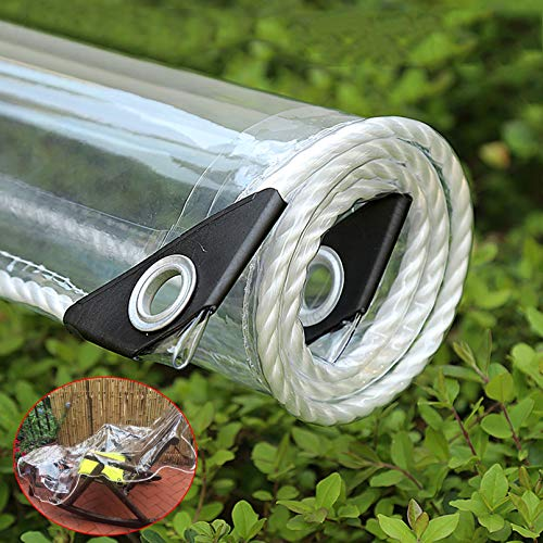 Sh000ad 100% Lonas Transparente,Lona Impermeable PVC Transparente con Ojales,Tela de PláStico Prueba de Polvo 0,3mm,Cubierta para Plantas de Flores para Exteriores,Personalizable (2.1x5m/6.9x16.4ft)