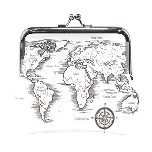 Mapa del Mundo Patrón Monedero Embrague Bolsa pequeña Chica Mujer Billetera Monedero Monedero Titular de Cambio de Tarjeta