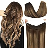 Doores Human Hair Extensions Halo Hair Ombre Chocolate Brown to Caramel Blonde 16 Inch 80g Real Wire Hair Extensions Flip in Straight Invisible Hidden Crown Hair Extensions with Transparent Fish Line
