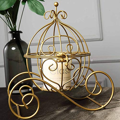 """Efavormart 11"""" Gold Princess Carriage Metal Candle Holder Table Centerpiece Card Display"""