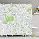 NotApplicable Cortinas De Ducha Mapa De Viaje Ubicación De La Ciudad Centro De Geografía Berlín Alemania Transporte Misceláneo Resumen 183X183Cm Cortina De Baño Cortinas Decorativas para Baño D