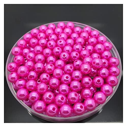 WEIMEIDA SLXZ616 50 unids 8mm Perlas de imitación Acrílico Redondo Perla Espaciador Separador Suelto Perlas DIY Joyería Haciendo Collar Pulsera Pendientes Accesorios Jqbb (Color : Rose)
