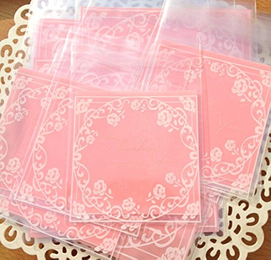 100 Pcs Bakery Bag OPP Self Adhesive Cookie Candy Biscuit Roasting Treat Gift DIY Plastic Bag (Pink Rose)