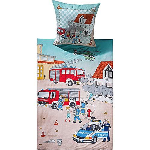 Erwin Müller Kinder-Bettwäsche, Bettgarnitur Polizei und Feuerwehr Flanell blau/rot Größe 135x200 cm (80x80 cm) - hautsymphatisch, mit praktischem Reißverschluss (weitere Größen)