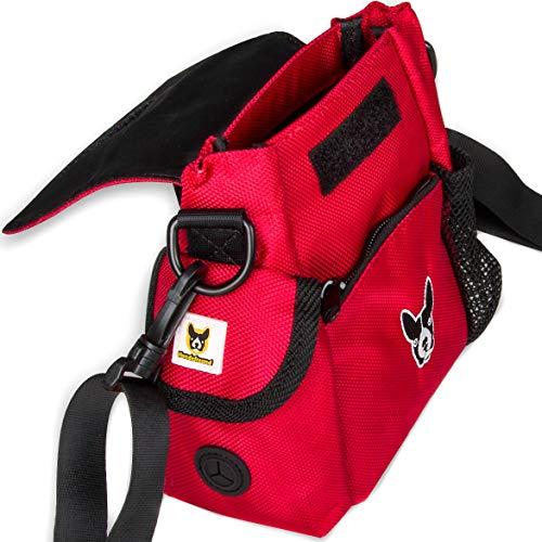 Hundefreund Futtertasche | Kleine Damen Handtasche für Leckerlis und Hundespielzeug | Leckerlitasche für Hunde | Roter Futterbeutel
