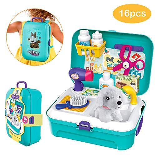 CestMall Kinder Rollenspiel Baby Spielzeug mit Rucksackbeutel, Tierarzt Spielset im Koffer Kleiner Rucksack Spielzeug 16pcs Spielset Spielzeug für 3 jährige Jungen Mädchen Kinder Kleinkinder