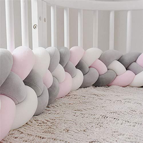 Cxssxling Bettumrandung Babybett, Baby Nestchen Bettumrandung Geflochten 4 Stränge Weben Bettumrandung Kantenschutz Kopfschutz Kinderbett Dekoration Länge 3M(Grau + Pink + Weiß)