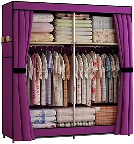 Dormitorio portátil del Armario del Armario Dormitorio Colgante Ropa de Almacenamiento Armario Organizador de Almacenamiento Ropa de Copa (Color: Púrpura)
