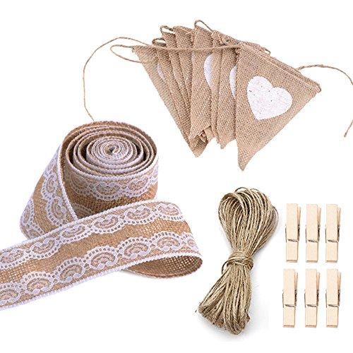 Lezed kerstversiering, feest, bruiloftsdecoratie set: jute kant 5 cm 3 m + 1 rol henneptouw 10 m + 1 stuk linnen wimpel 13 vlaggen + 6 houten clip; geschikt voor elk geschenk decoratie thuis of bruiloft.