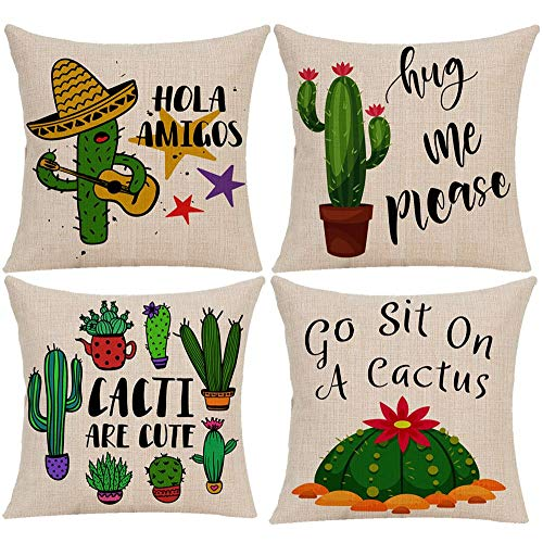 Wilproo Cactus Decorative Throw Pillow Covers 18x18, Funny Gifts Summer Style Printed Both Sides Home Decor Hug Me Please Pillow Covers Set of 4 Cotton Linen Throw Pillow Case Cushion Cover