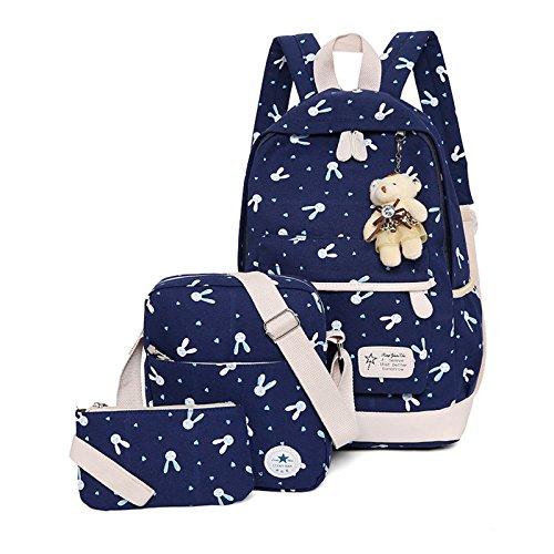 WSLCN Conjunto de mochilas de lona para meninas, mochila escolar com zíper, bolsa de viagem, bolsa de ombro, bolsa de ombro para crianças, bolsa de ombro, bolsa de laptop, bolsa de ombro, estojo de lápis, coelho, 3 peças, azul escuro