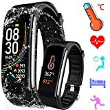 PYBBO Temperature Measurement Smart Watch, Activity Exercise Fitness Trackers with Heart Rate Blood Pressure and Sleep Monitor, Smart Calorie Counter, Step Counter, Compatible Android/iOS, Black