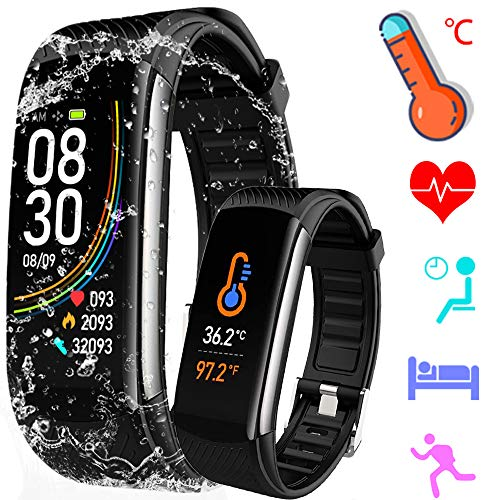 Fitness Trackers with Temperature Measurement, Activity Trackers Exercise Watch with Heart Rate Blood Pressure and Sleep Monitor, Smart Calorie Counter, Step Counter, Compatible Android / iOS, Black