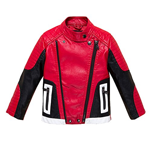 Budermmy Boys Leather Motorcycle Pilot Jackets Toddler Coats Red Size 14