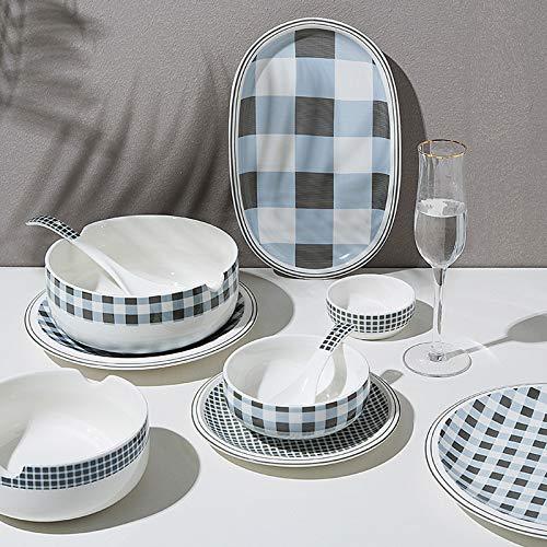 Juegos De Vajillas De Porcelana, 29 piezas de vajilla de porcelana de hueso a cuadros bajos   Cuenco de porcelana para cereales y plato de carne para regalo de inauguracin de la casa