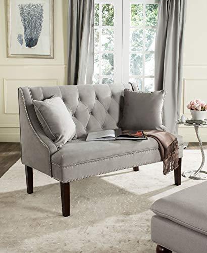 Safavieh FOX6253-P Home Collection Zoey Velvet Settee Grey