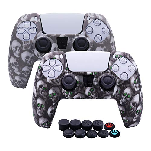 [2 Stück] Jusy Silikon Abdeckung Skin für PS5 DualSense Controller, Sweat-Proof Anti-Slip Cover Dust Proof Durable Protective Case für PS5 Controller mit 10 Daumengriffen (Comic Skulls)