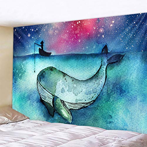 PPOU Tapiz de Animal de delfín Escena psicodélica Mandala Tela Colgante Fondo Bohemio Tela Manta Colgante de Pared A3 73x95cm