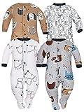 Sibinulo Niño Niña Peleles Mamelucos, Pijama Tamaños 0 Meses a 3 Meses, Pack de 4 Animales Blancos, Beige, Grises, Negros 62
