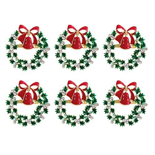 wonlex Christmas Napkin Rings Set of 6, Green Diamonds Napkin Ring for Wedding, Thanksgiving Day, Family Gatherings, Birthday and Dinner Party, Serviette for Thanksgiving Day, Xmas (Christmas Wreath)