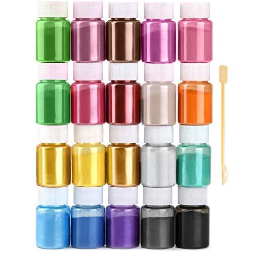 JEMESI Mica en Polvo,20 Botellas×10 gramo Pigmento Resina Epoxi Puede Hacer Slime,Jabon,Velas,Sombra de Ojos y Pintauñas