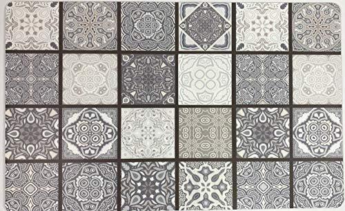 De'Carpet Alfombra VINILICA Estampada Vinilo Base Goma Natural FÁCIL Limpieza 100% Antideslizante Acolchada BALDOSA CINAS (57X115cm)