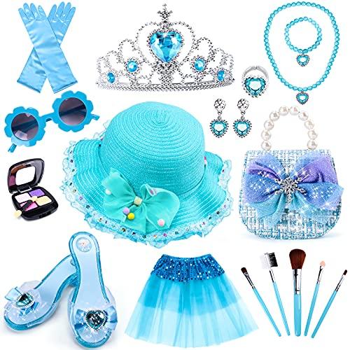 Tacobear Kit de Maquillaje Niñas Frozen Princesa Disfraz Accesorios con Zapatos Princesa Corona Bolso Sombrero Tutu Princesa Joyas Juguete de Maquillaje Regalo para Niñas Cumpleaños Carnaval