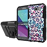 [NakedShield] [Black/Black] Total Defense Armor Case [Kickstand] [Holster] - [Spotted Cat Baby Color] Compatible for Samsung Galaxy [2017] [J3 Emerge] [5' Screen]