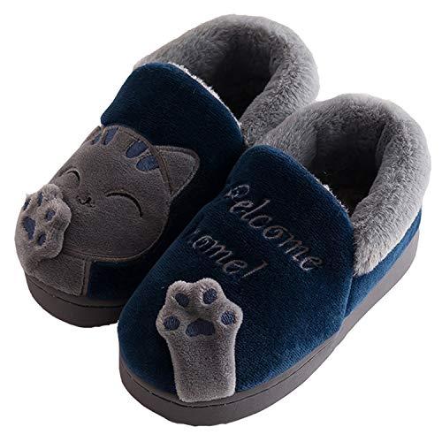 Zapatillas de Estar por Casa para Niño Niña Zapatos Pantuflas Invierno Mujer Hombre Interior Caliente Peluche Forradas Slippers, Gato Azul, 30 31 EU