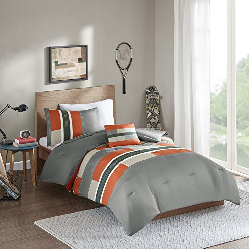 Comfort Spaces Pierre Comforter Set All Season Ultra Soft Hypoallergenic Microfiber Pipeline Boys Dormitory Bedding, Queen, Stripe Gray/Orange