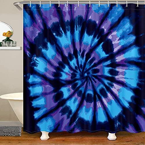 Erosebridal Batik-Duschvorhang, blau-violett, spiralförmig, wasserfester Duschvorhang mit Haken, maschinenwaschbar, 183 x 183 cm (B x L)