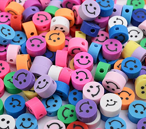Sadingo Cuentas multicolor de 10 mm, 40 unidades para hacer joyas infantiles, perlas para enhebrar, juego de perlas, perlas de arcilla polimérica