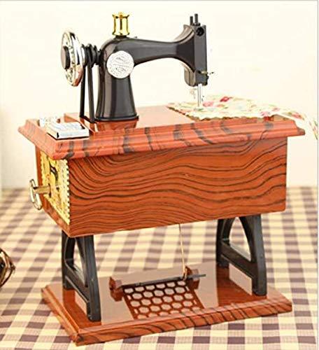 LINGSFIRE Vintage Spieluhr Nähmaschine Spieluhr, Geschenk für Ehefrau, Handkurbel Spieluhren Musikspieldose Geschenk Kreative Spieluhr für Liebe Frau, Valentinstag, Weihnachten, Jahrestag, Geschenk
